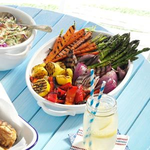 Grilled Vegetable Platter Recipe _ Brightly colored and packed with flavor, these no-fuss veggies are perfect for entertaining or even as a light snack. Grilling brings out their natural sweetness while the seasoning kicks them up a notch.