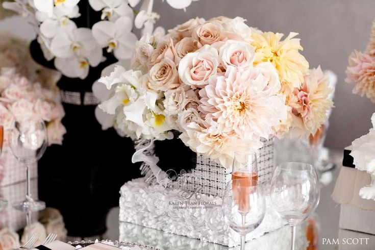 Blush, black and white - Chanel Wedding