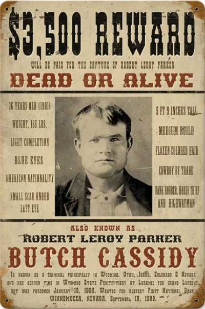 Authentic Photos Old West | Old West Butch Cassidy Metal Wanted Poster Sign