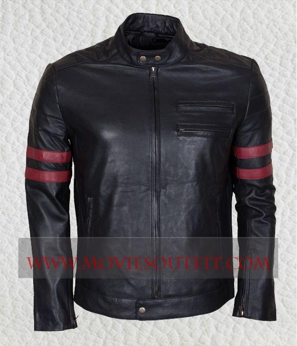 Mens Fashion Red Stripes Slimfit Black Leather Jacket