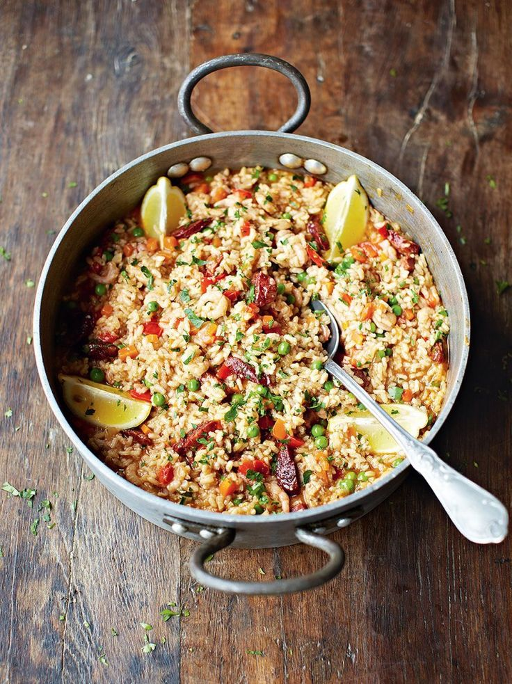 Chicken & chorizo paella  This would be a great recipe for Christmas time when there are a million people in the house for the holidays!