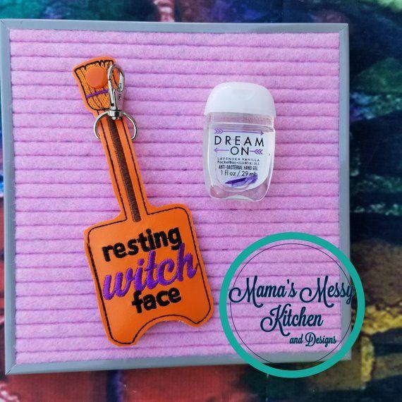 Resting Witch Face Halloween Hand Sanitizer Holder Glitter Vinyl