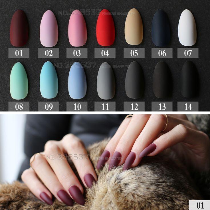 Kaufen Sie neue Matte False Short Pointed Toe Soft Pink Nude Rot Schwarz Blau gefälschte Stiletto-Nägel full cover Reine Farbe Süßigkeiten Lila Khaki Weiß