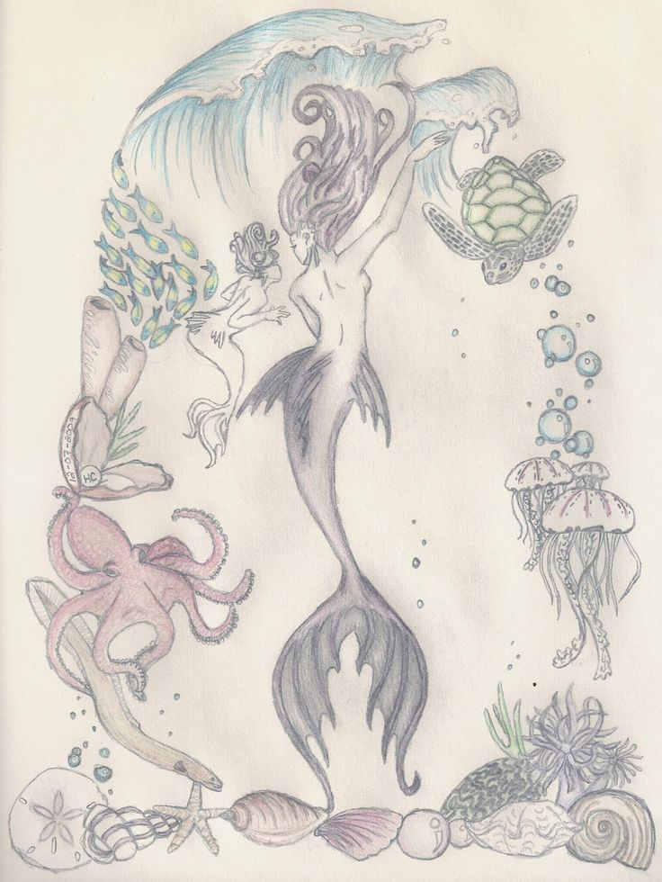 Mermaid and her child- Print by theNerdyHooknNeedle on Etsy https://www.etsy.com/listing/204840617/mermaid-and-her-child-print