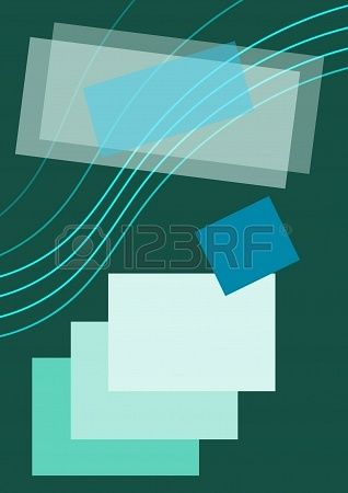 Composition on dark green background, green lines, colourful small and large squares and  rectangles
