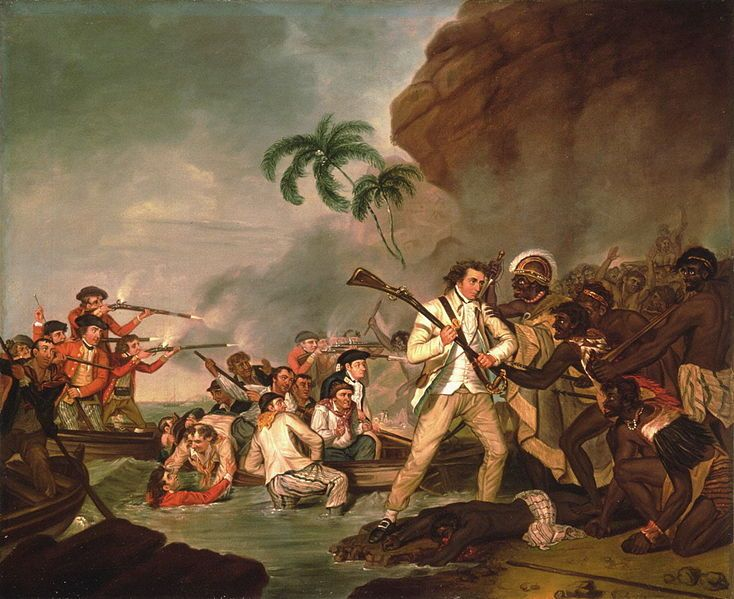 """George Carter - """"Death of Captain James Cook"""" (1783)"""