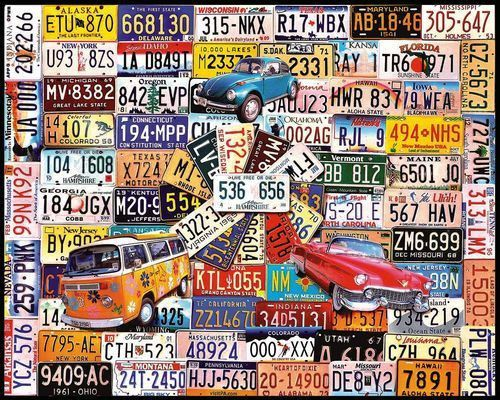 White Mountain Puzzles License Plates - 1000 Piece Jigsaw Puzzle features a collage license plates as depicted by artist Charlie Girard. Gather your family together to complete this puzzle and talk ab