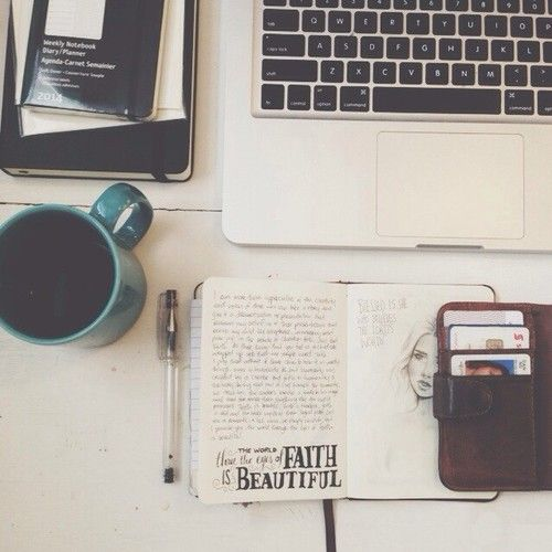 notebook + beverage + typography doodles + laptop = <3