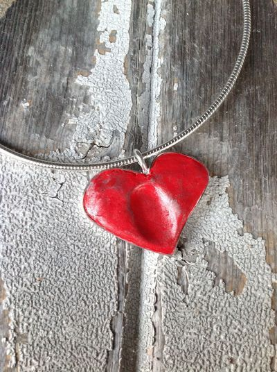 Air dry clay thumbprint necklace made with Premier Clay a soft lightweight clay. Heart shaped pendant, clay necklace, jewellery, jewelry.