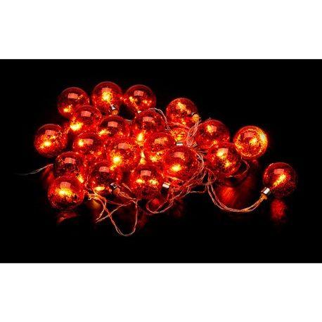 Batteridrevet lysslynge LED | 20 røde glasskuler | ANSLUT