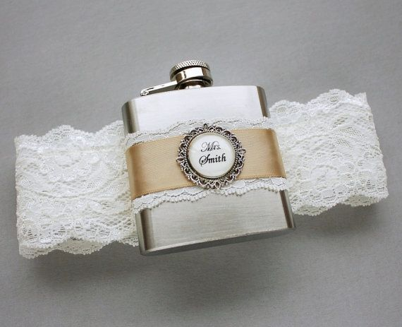 Wedding GARTER FLASK, Bridal Garter in Ivory & Champagne, Custom Flask Garter, Personalized Bridal Shower, Bachelorette or Bridesmaids Gift