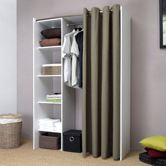 Dressing extensible 4 niches 1 penderie en bois L123/160xP50xH182cm ARTEMIS