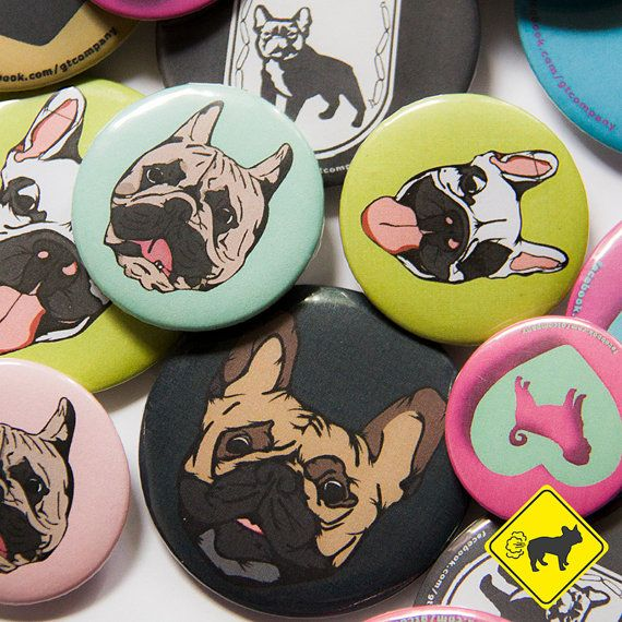 French  Bulldog BADGE & MAGNET by GTCompany on Etsy, zł13.00