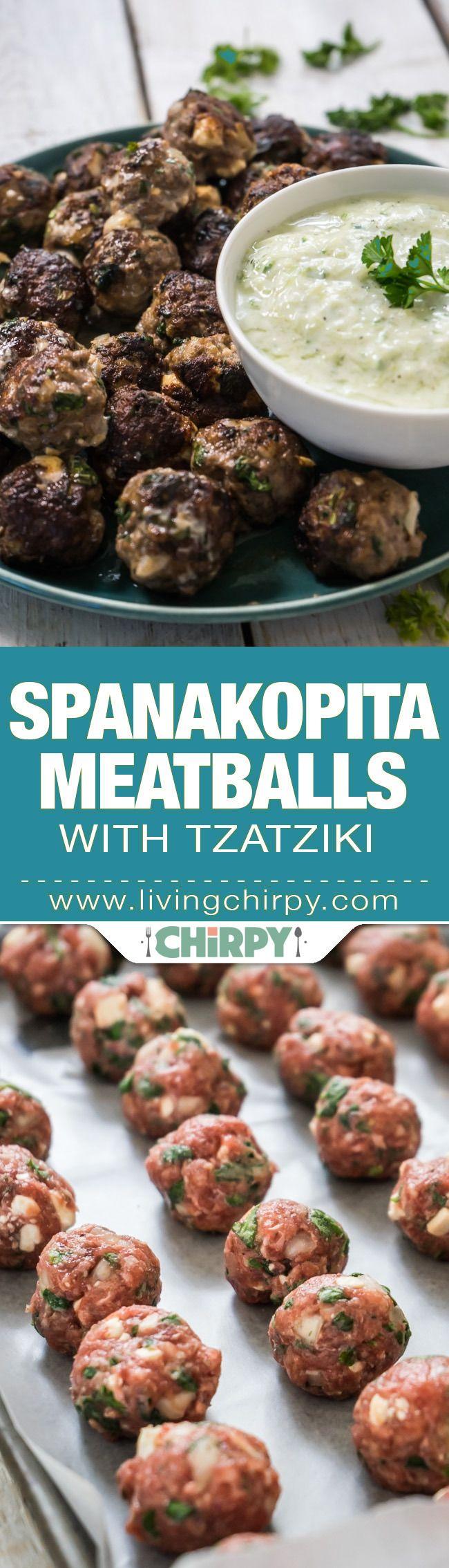 Spanakopita Meatballs. Love child of Kleftedes and Spanakopita. Meatballs filled with spinach and creamy feta cheese. Served with Tzatziki.