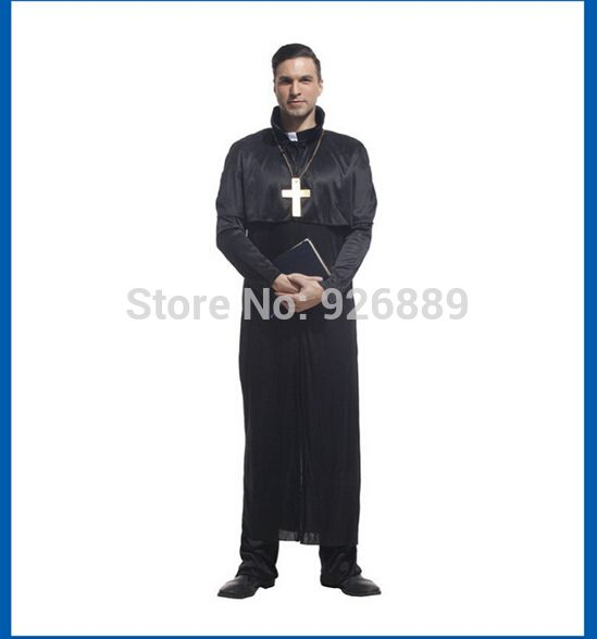 This is nice, check it out!   Adult Pastor Priest Robe Costume Suit Godfather Missionary Priest Serving Priest Serving Halloween Clothing  Free shipping - US $27.49 http://goclothingshop.com/products/adult-pastor-priest-robe-costume-suit-godfather-missionary-priest-serving-priest-serving-halloween-clothing-free-shipping/
