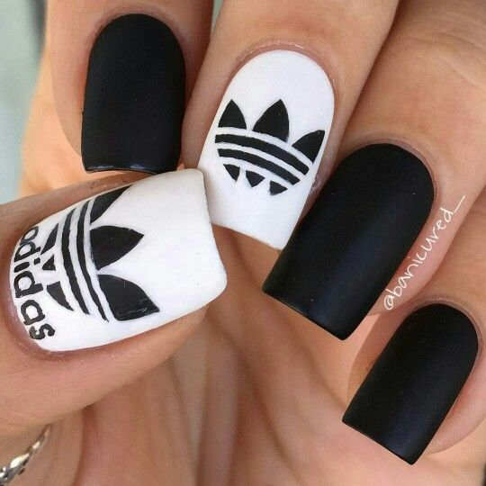 Addidas Nails by #banicured_ #instagram ,Adidas shoes #adidas #shoes
