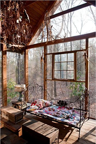 I love this idea of a screened in, well decorated room just smack dab in the middle of nature. It seems like it would be very serene