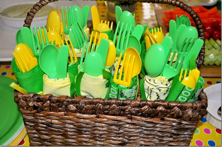 "John Deere Party Decoration Ideas | The table was decorated with a green tablecloth and a yellow ""runner ..."