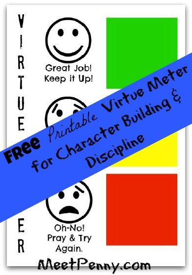 Free printable virtue meter (discipline chart) to use with We Choose Virtues virtue cards. #MommyTimeParty