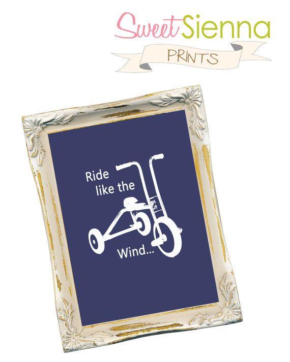 "Navy ""Ride like the wind"" Bike Nursery decor, baby nursery art. Nursery Wall art, silhouette - typographic print, 8x10"" PDF on Etsy, $11.43 AUD"