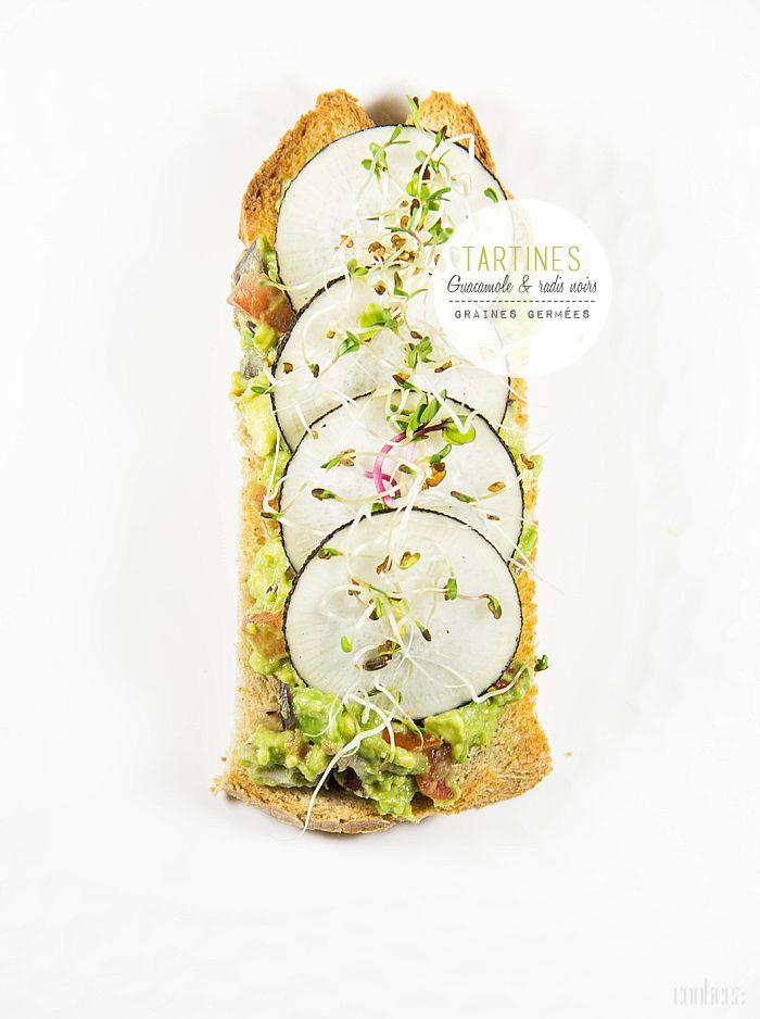 Tartines guacamole, radis noirs et graines germées sur cookeez.fr
