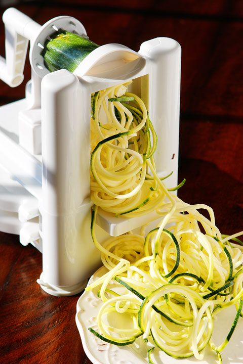 The PERFECT summer recipe   Saut  ed shrimp and red bell peppers poured over a bed of spiralized zucchini and yellow squash  So easy and delicious