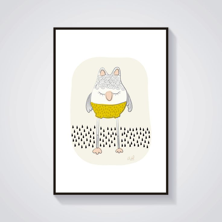 Impression - Hibou moutarde - Affiche / Illustration A4 : Affiches, illustrations, posters par adelfabric