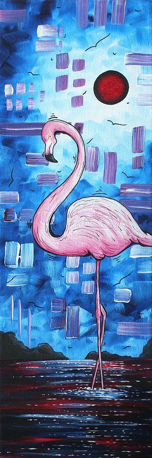 Abstract Flamingo Tropical Art Original Painting FLAMINGO DREAMS by MADART Painting by Megan Duncanson
