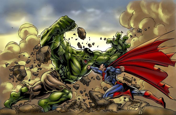 superman and hulk fighting