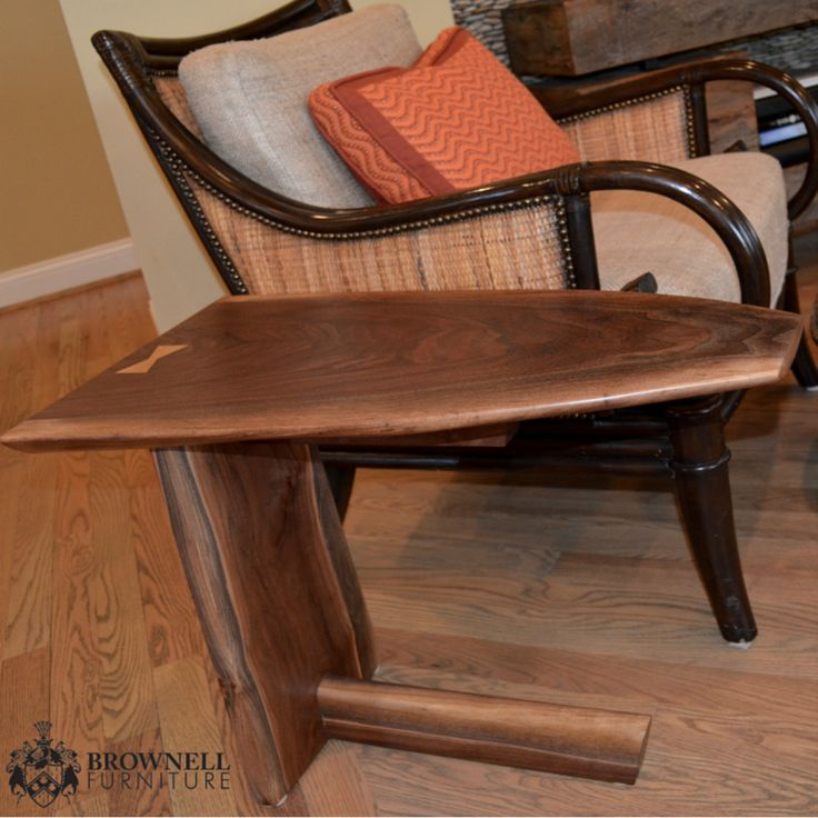 """""""Knockashima"""" knock off of George Nakashima table. Walnut and crotch walnut slab top. Butterfly joint in Cape Beech. 20"""" tall x 16"""" wide x 26"""" long."""