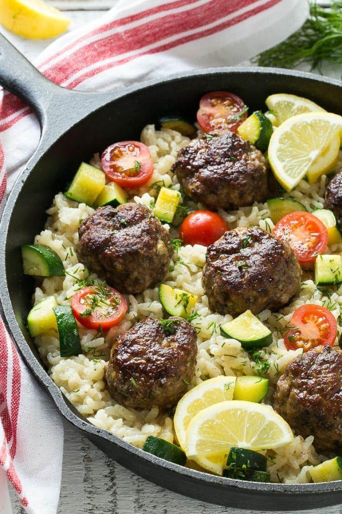 One Pot Greek Meatballs with Lemon Dill Rice Recipe on Yummly. @yummly #recipe