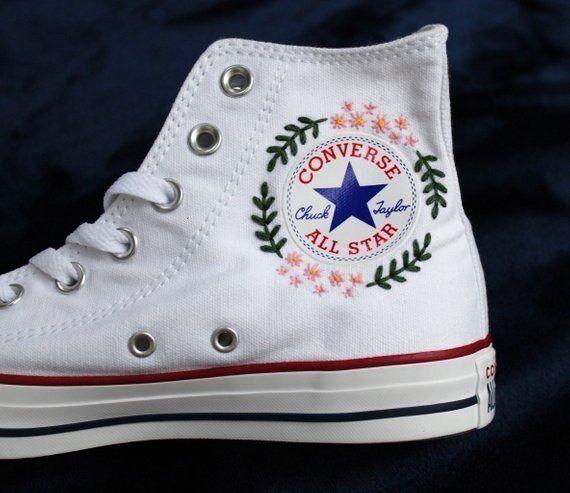 flowerconverse #embroidered #converse #flowerFlower