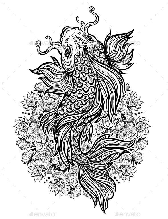 Koi Carp Fish With Lotus Flower Mandala Tattoos Vectors Lotus Flower Mandala Koi Carp Koi Tattoo