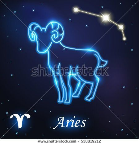 Light symbol of Aries and Ram of zodiac and horoscope concept, vector art and illustration.