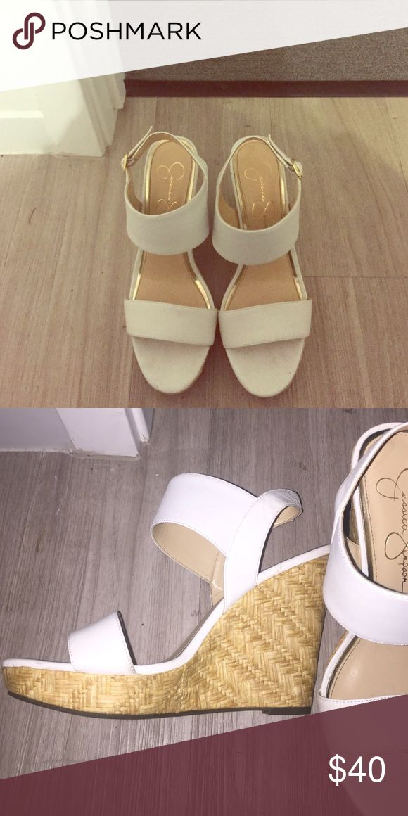 Jessica Simpson Wedges Really cute white corked wedges made by Jessica Simpson. I've only worn them once. Jessica Simpson Shoes Wedges