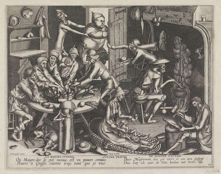 Anonymous | Magere keuken, Anonymous, Pieter van der Heyden, Joannes Galle, 1615 - 1676 | Keukeninterieur met magere mensen die aan een tafel mosselen eten. Een man roert in een ketel op het vuur en vooraan geeft een vrouw een kind uit een drinkhoorn te drinken. Boven probeert een dikke man de magere keuken te ontvluchten, terwijl twee magere mensen hem proberen binnen te halen. Onder de voorstelling een tweereglig vers in het Frans en in het Nederlands.