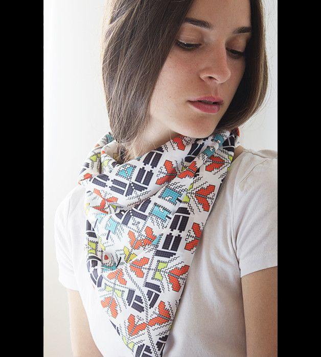 Schals - Weißer Schal, Damen Schal, Großer Schal, Retro - ein Designerstück von Shevitza bei DaWanda