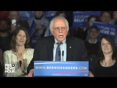 "PBS News Hour: Watch Bernie Sanders' full speech after Iowa caucuses....closing music David Bowie's ""Starman"""