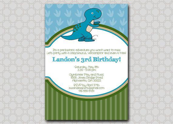 Dinosaur Birthday Invitation - 5x7 printable digital invite - Stripes boy printable digital  invitations