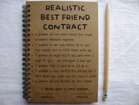 ReALiStiC Best Friend Contract   5 x 7 journal von JournalingJane