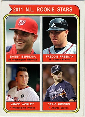 2011 N.L. Rookie Stars - 1974 Topps Format. Danny Espinosa, Washington Nationals, Freddie Freeman, Atlanta Braves, Vance Worley, Philadelphia Phillies, Craig Kimbrel, Atlanta Braves, Baseball Cards That Never Were.