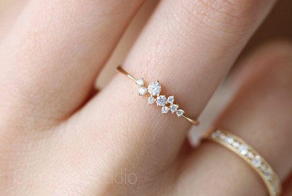 14 k gold schlanke zarte Taktik Inlay Zirkon Ring — — kleinen Blumenstrauß …
