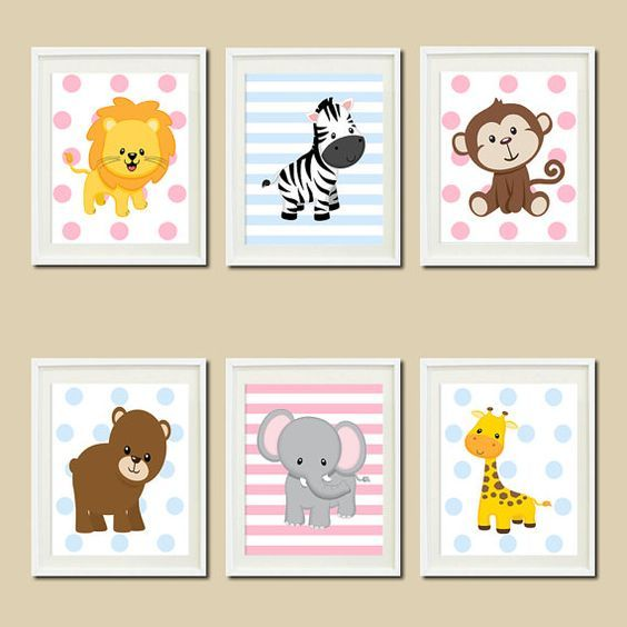 Safari Nursery Decor Jungle Theme Nursery Nursery Artwork: Jungle Nursery Wall Art Prints Or Canvas Twins Nursery