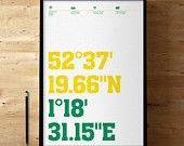 Norwich City FC, Carrow Road Stadium Coordinates, Football / Soccer Posters and Prints