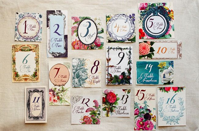 Table numbers from a Secret Garden Wedding