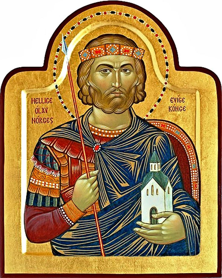 Saint Olaf II Haraldsson, King of Norway. He ruled over Norway in the early 11th century. Olaf was killed in the Battle of Stiklestad in 1030.