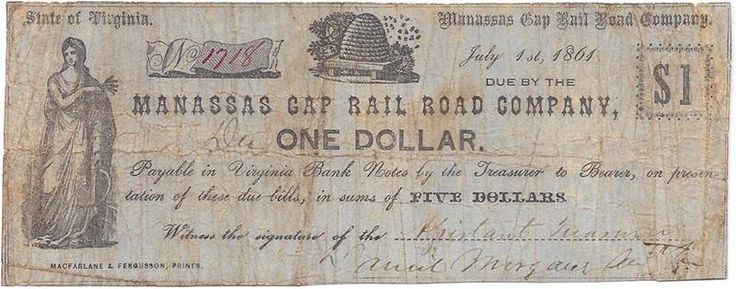 Virginia Confederate Money Manassas Gap Railroad Company 1.00 Fine