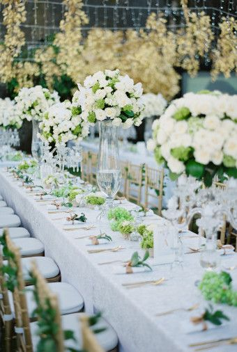 1147 best wedding decorations images on pinterest wedding decor white floral arrangements and suspending gold leaves for grecian inspired wedding decor a greek garden recreated erwin and airins wedding at the edge junglespirit Gallery