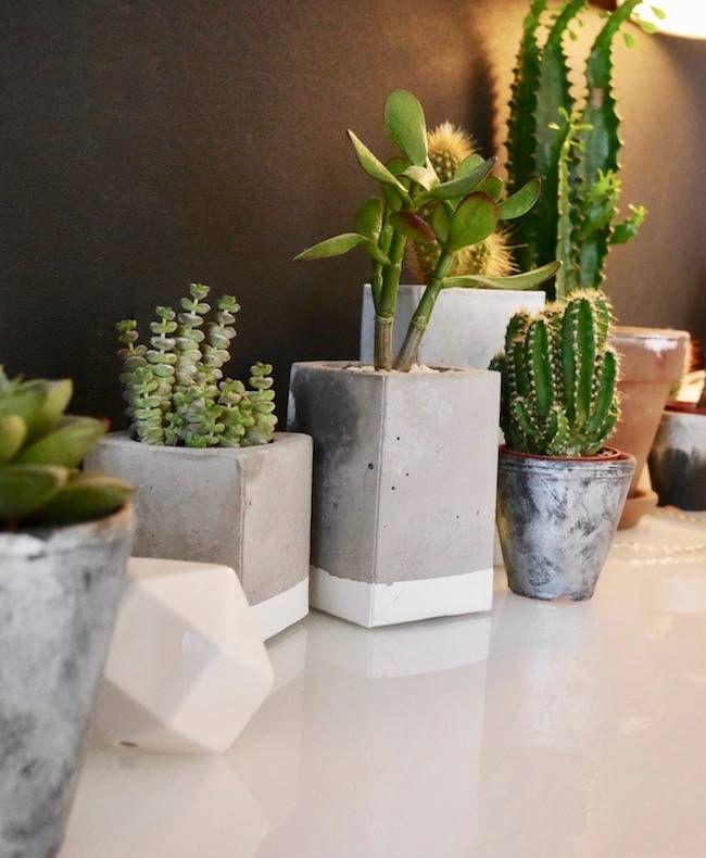 Elle a fabriqué un cache-pot en beton a partir d'une brique de lait pour ses plantes grasses et ses cactus qui apportent beaucoup de vie dans ce salon noir clemaroundthecorner