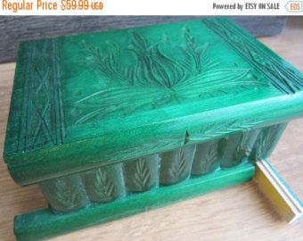 Puzzle  Box Painted Carved Jewelry Box Case Wood Comes от kalotart
